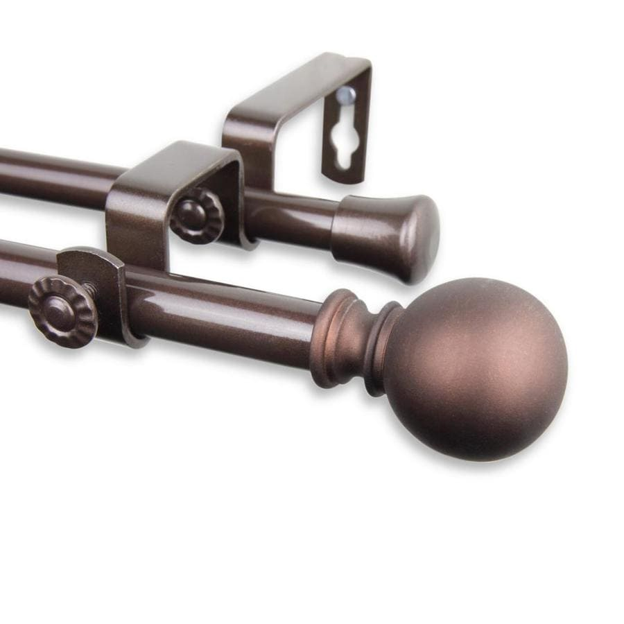 hart harlow levy 5 8 in 28 in to 48 in cocoa steel double curtain rod in the curtain rods department at lowes com