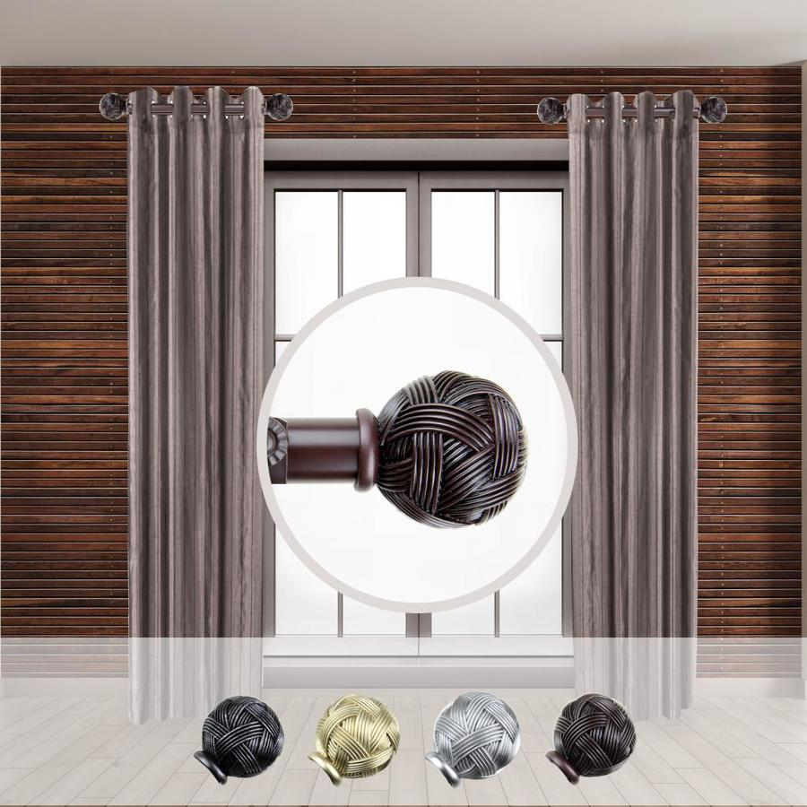 hart harlow 1 in travis 2 pack 12 in to 20 in mahogany steel side curtain rod in the curtain rods department at lowes com