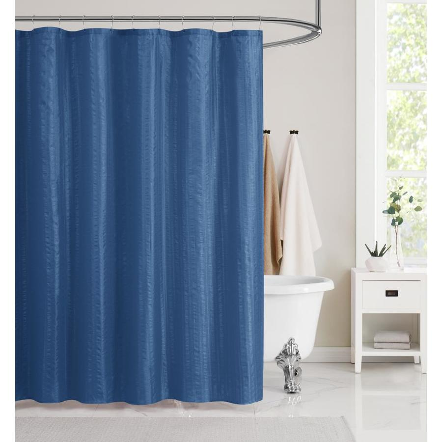 olivia gray 72 in polyester navy solid shower curtain in the shower curtains liners department at lowes com