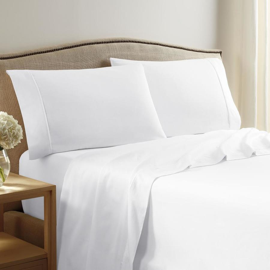 westpoint home martex 400 thread solid sateen white king sheet set in the bed sheets department at lowes com