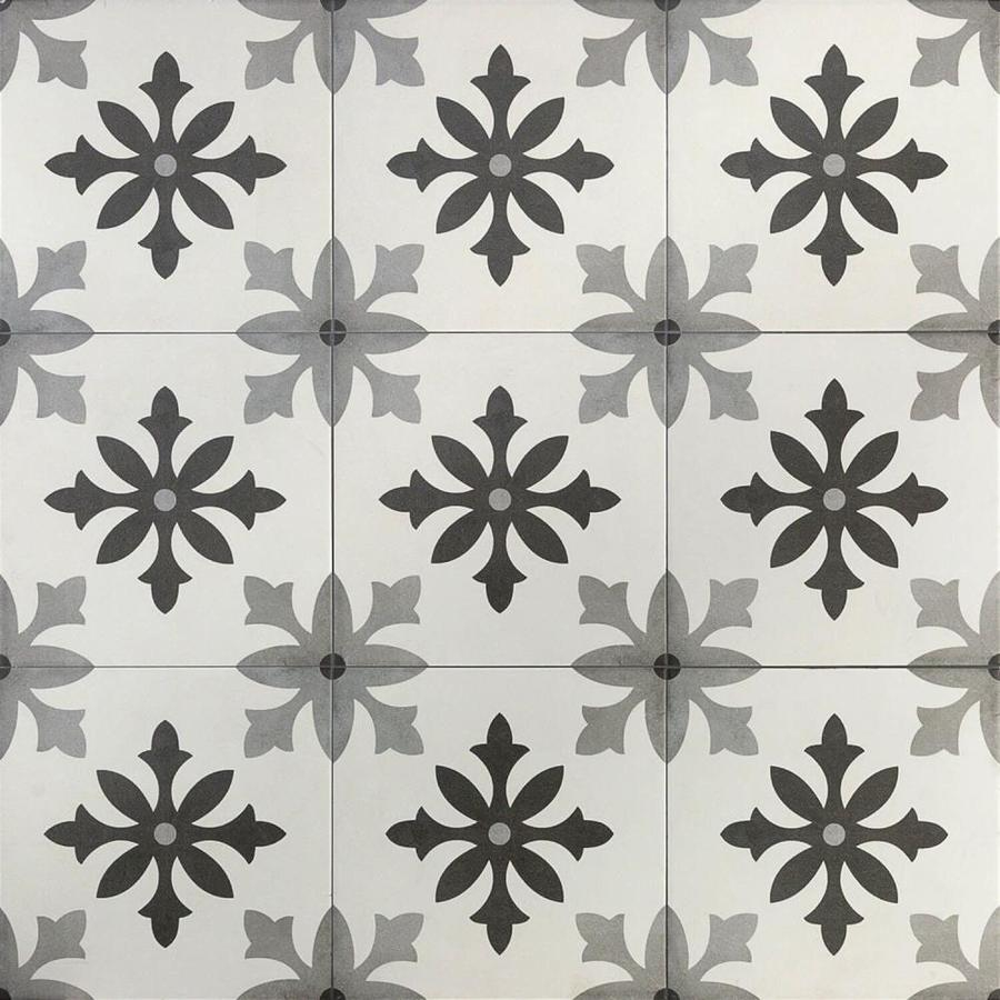 artmore tile ruiz 20 pack blanco 9 in x 9 in glazed porcelain encaustic floor and wall tile in the tile department at lowes com