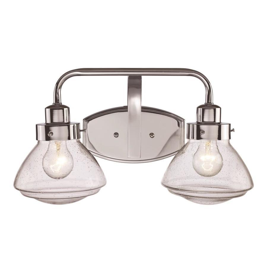 lucid lighting 2 light nickel industrial vanity light bar in the vanity lights department at lowes com