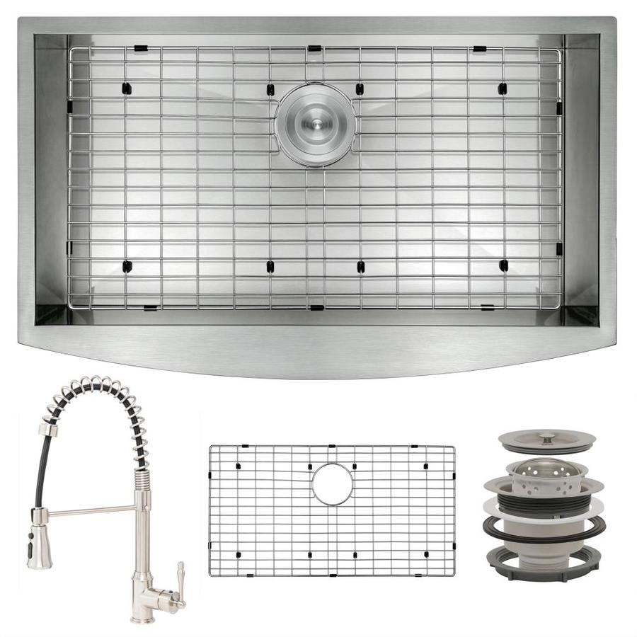 akdy all in one farmhouse apron front 30 in x 20 in brushed stainless steel single bowl kitchen sink all in one kit in the kitchen sinks department at lowes com