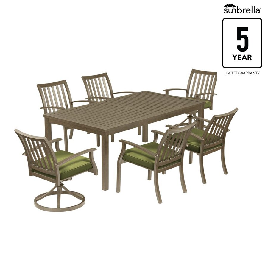 gatewood 7 piece gray frame patio set with spectrum cilantro sunbrella cushions in the patio dining sets department at lowes com