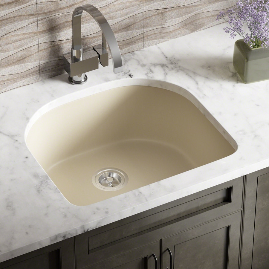 mr direct undermount 24 75 in x 22 in beige single bowl kitchen sink in the kitchen sinks department at lowes com