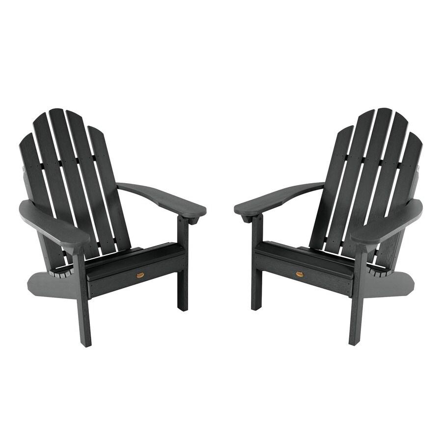 highwood adirondack set of 2 black plastic frame stationary adirondack chair s with slat seat seat