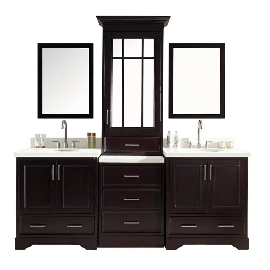 ariel stafford 85 in espresso undermount double sink bathroom vanity with white quartz top mirror included