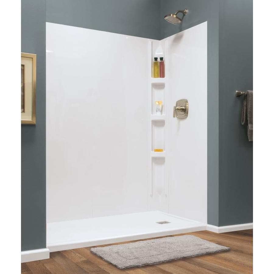 style selections hampton glue up wall 60 in x 72 in white shower surround back wall panel