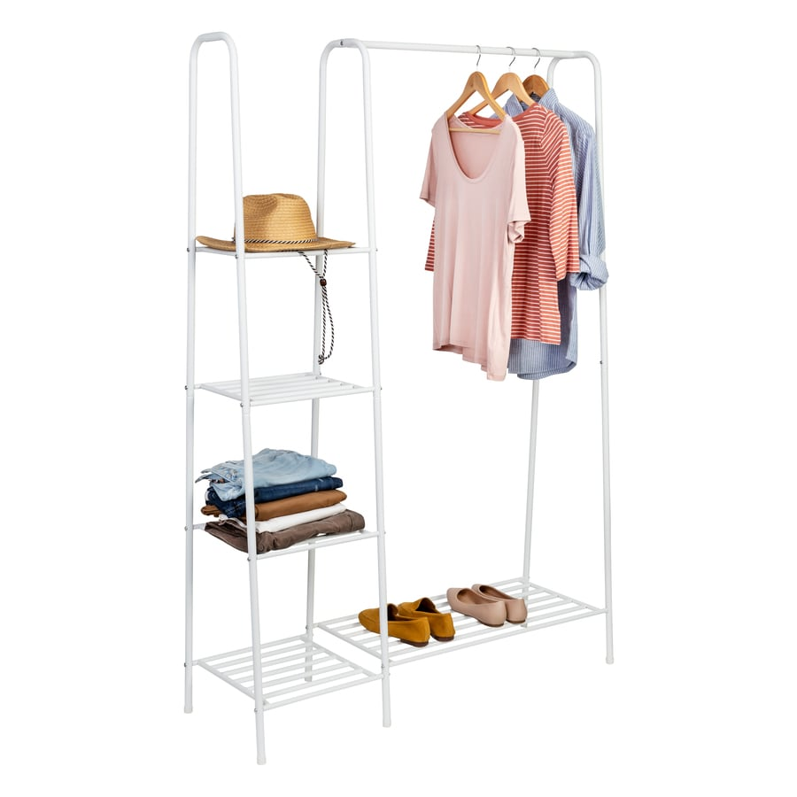 honey can do white matte freestanding closet with clothes rack and shelves