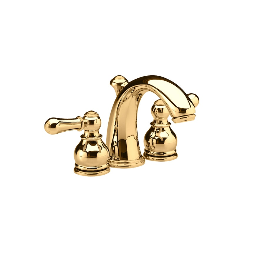 american standard hampton polished brass 2 handle 4 in mini widespread watersense labeled bathroom sink faucet drain included