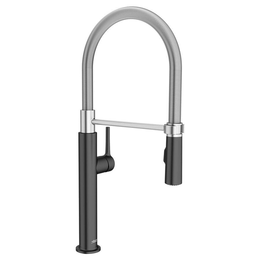 american standard studio s matte black 1 handle deck mount pull down handle kitchen faucet