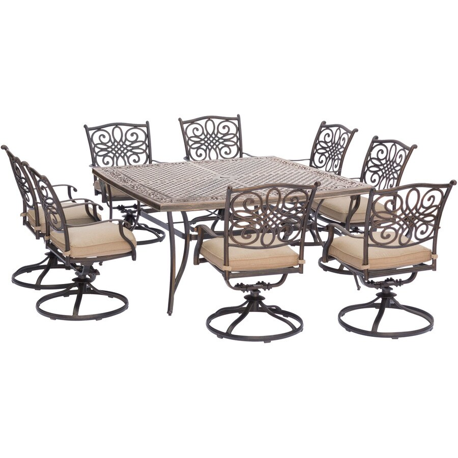hanover traditions 9 piece bronze frame patio set with natural oat hanover cushion s included