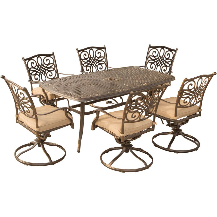 hanover traditions 7 piece bronze frame patio set with natural oat hanover cushion s included