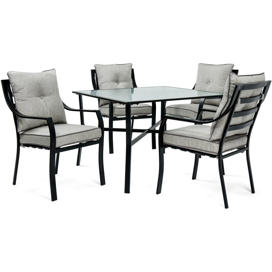 hanover outdoor furniture lavallette 5 piece black frame patio set with silver lining hanover cushion s included