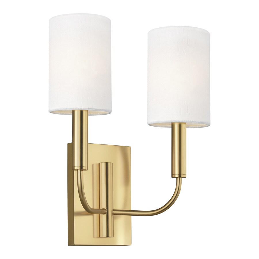 generation lighting designers ed ellen degeneres brianna 11 375 in w 2 light burnished brass modern contemporary wall sconce