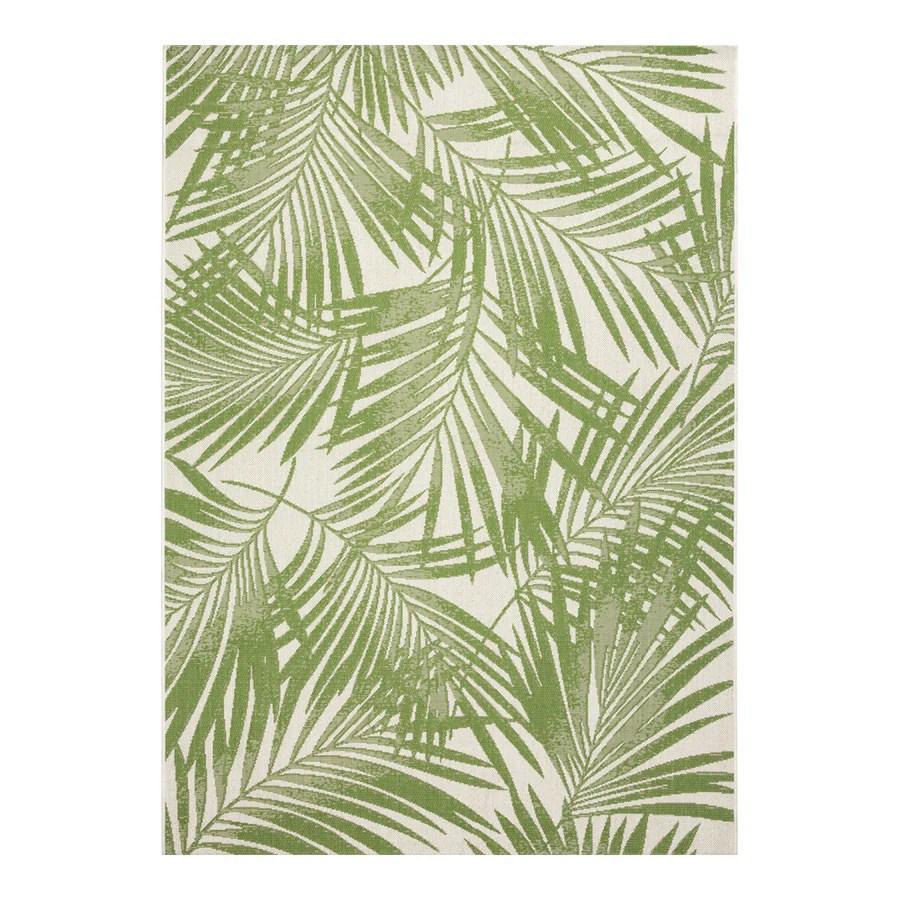 garden treasures bright palm 8 x 10 green indoor outdoor floral botanical coastal area rug lowes com