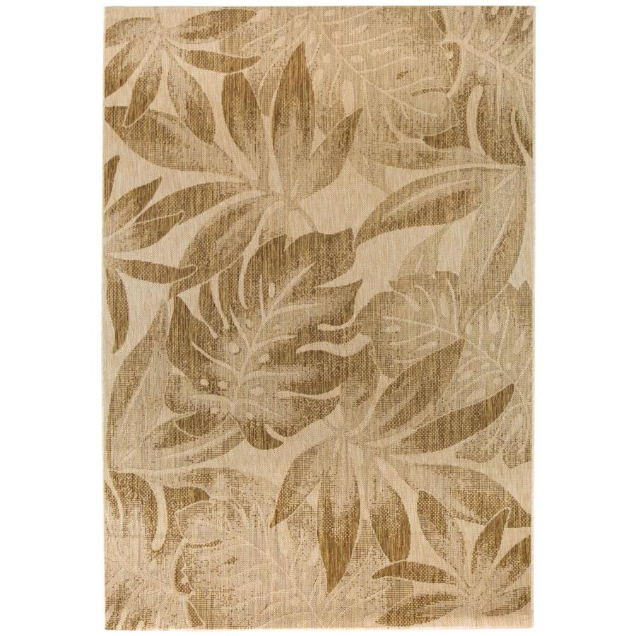 garden treasures neutral tropical leaves 5x7 5 x 7 brown indoor outdoor floral botanical area rug