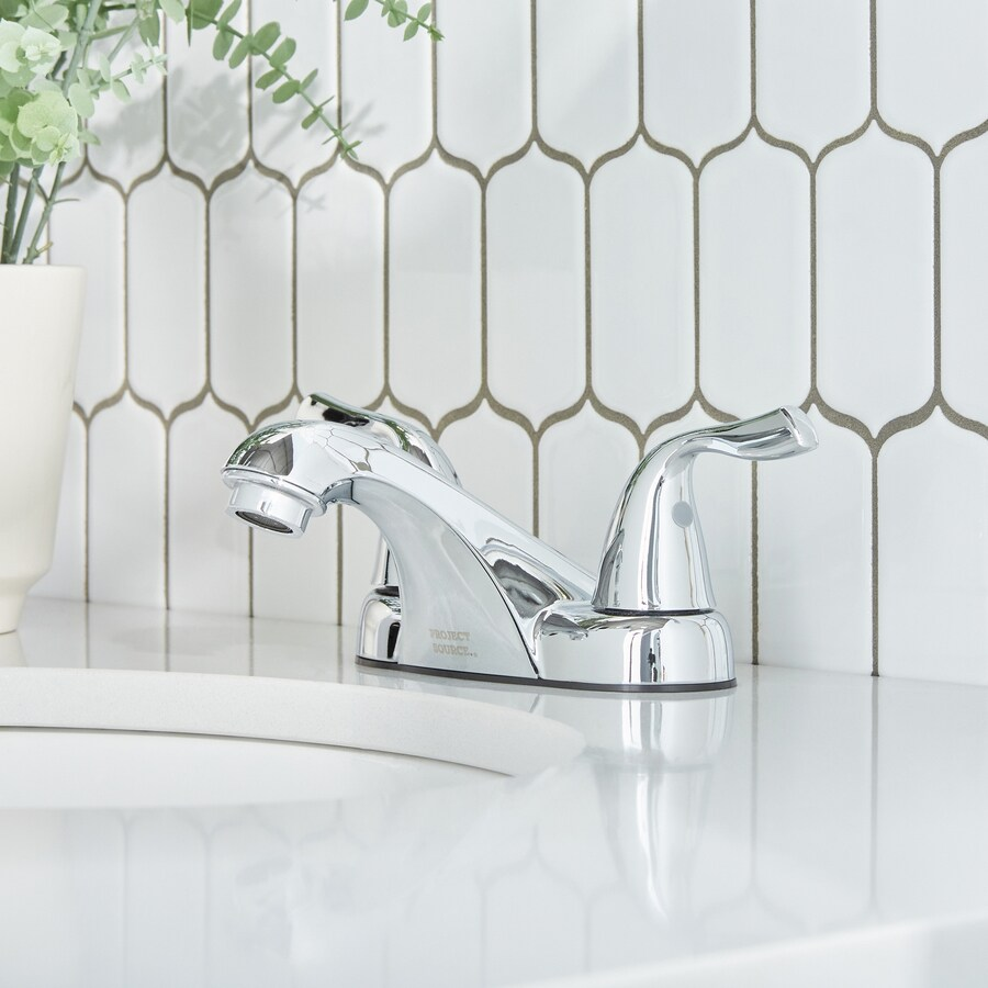 project source chrome 2 handle 4 in centerset watersense bathroom sink faucet with drain in the bathroom sink faucets department at lowes com