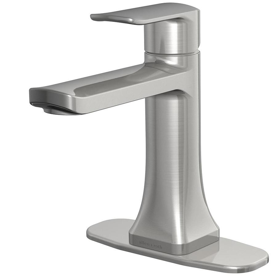 allen roth dunmore brushed nickel 1 handle single hole 4 in centerset watersense bathroom sink faucet with drain and deck plate