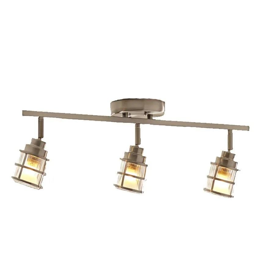 allen roth kenross 3 light 24 in brushed nickel dimmable standard track bar fixed track light kit