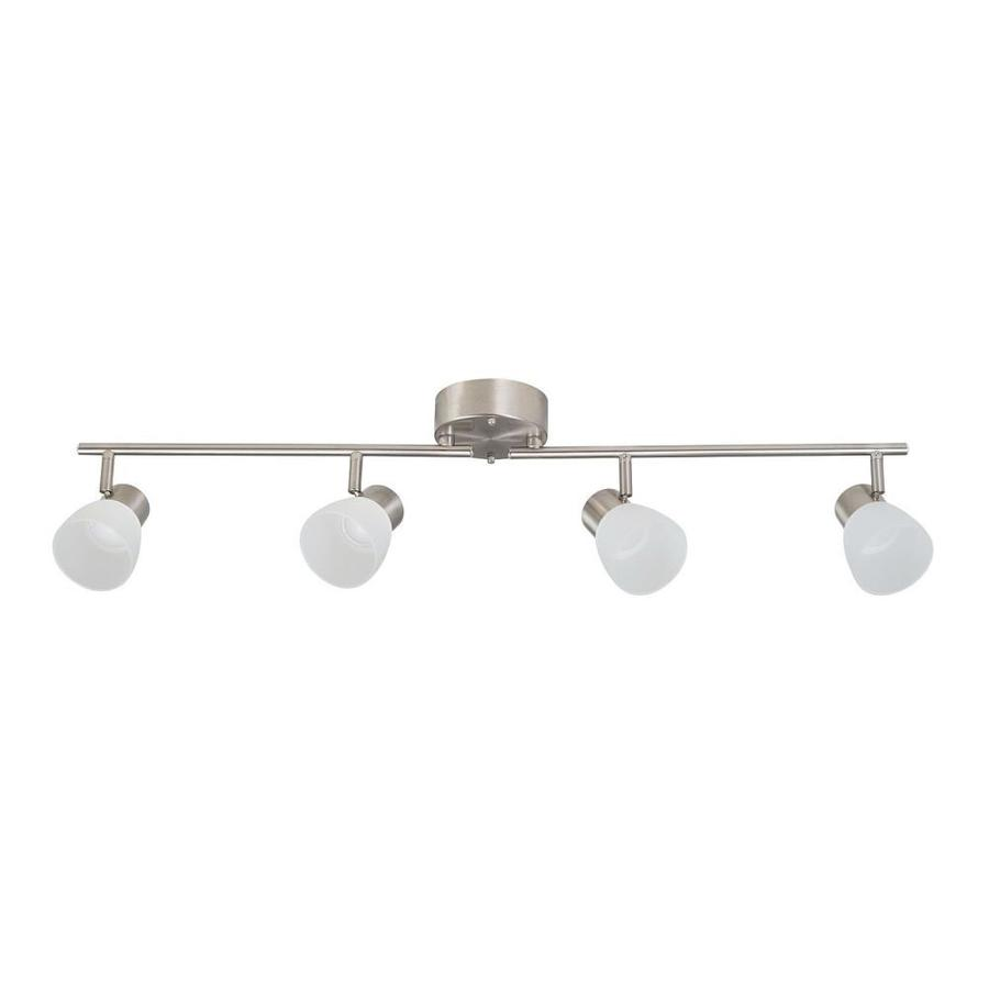 allen roth sawyer 4 light 35 8 in brushed nickel dimmable led track bar fixed track light kit