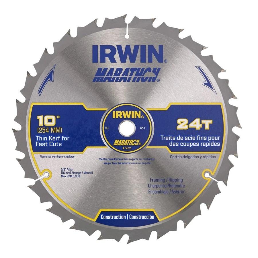 irwin marathon 10 in 24 tooth carbide miter table saw blade