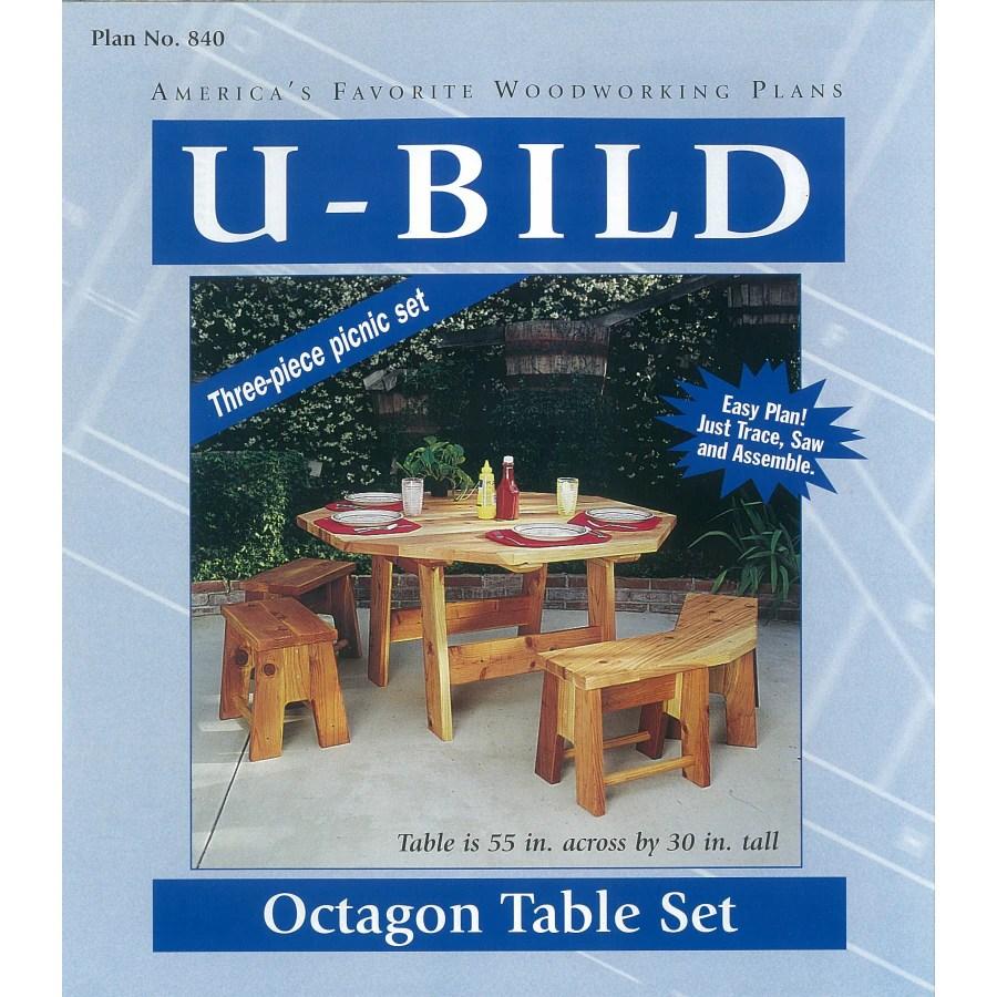 ⃝ U-Bild Octagon Picnic Table Set Woodworking Plan - a926