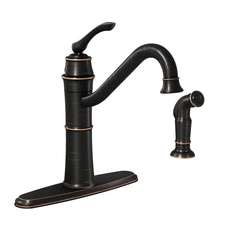 moen wetherly mediterranean bronze 1 handle deck mount high arc handle kitchen faucet deck plate included