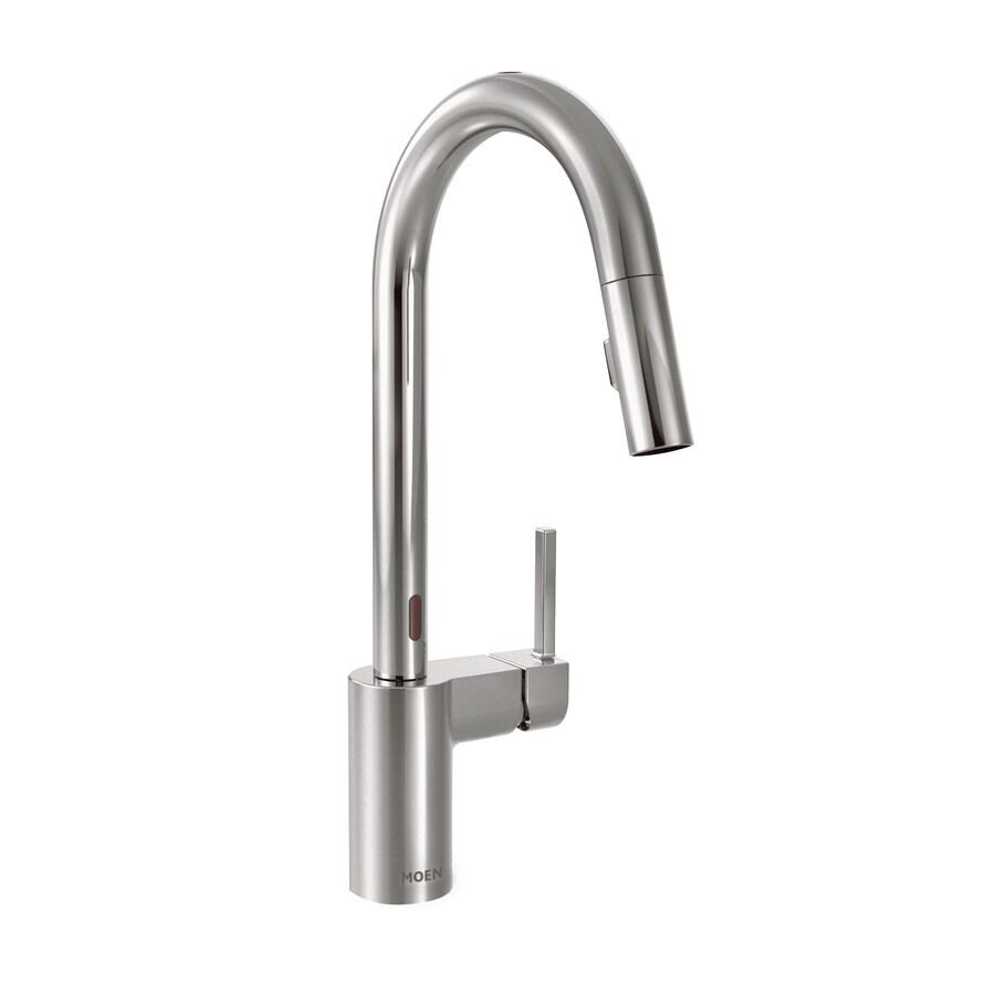 moen align chrome 1 handle deck mount pull down touchless kitchen faucet