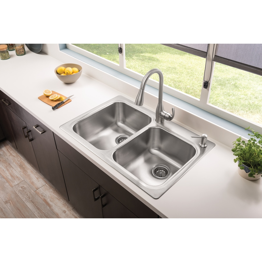 moen kelsa dual mount 33 in x 22 in stainless steel double equal bowl 2 hole kitchen sink all in one kit lowes com