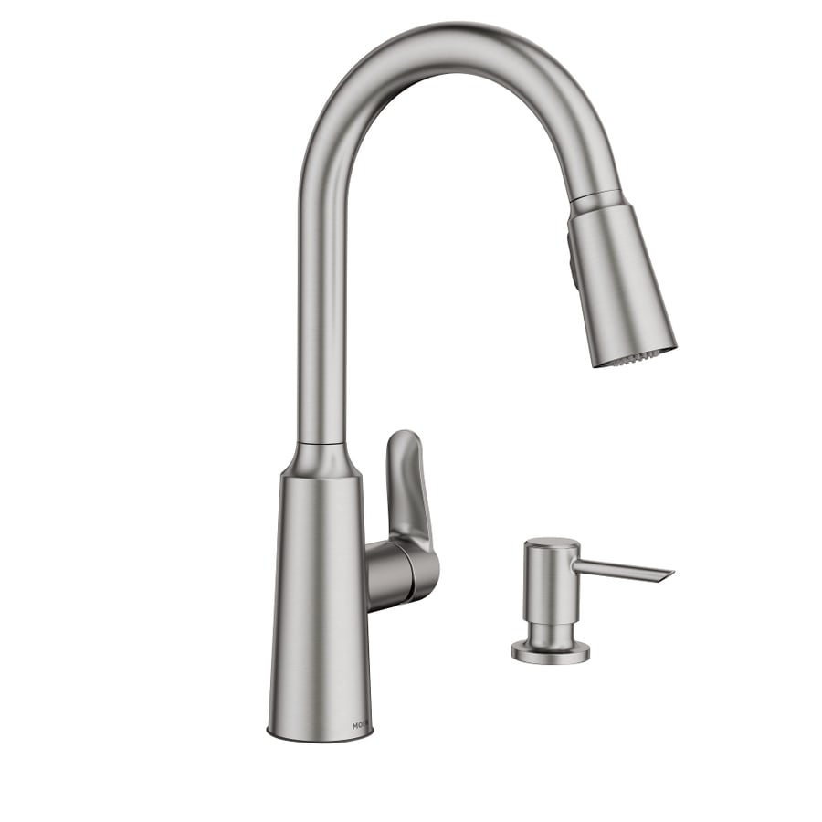 moen edwyn spot resist stainless 1 handle deck mount pull down handle kitchen faucet deck plate included