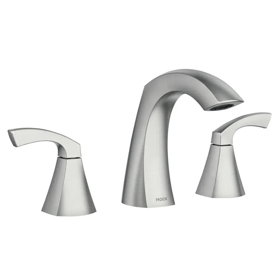 moen lindor spot resist brushed nickel 2 handle widespread watersense bathroom sink faucet with drain