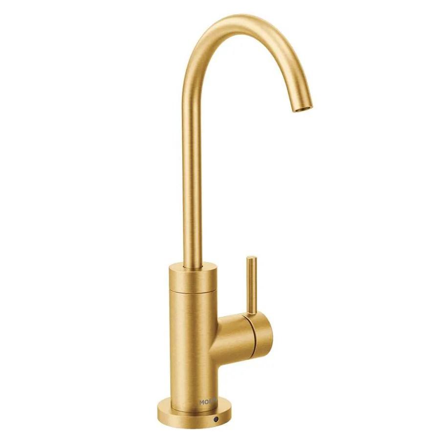 moen sip modern brushed gold 1 handle deck mount high arc handle kitchen faucet