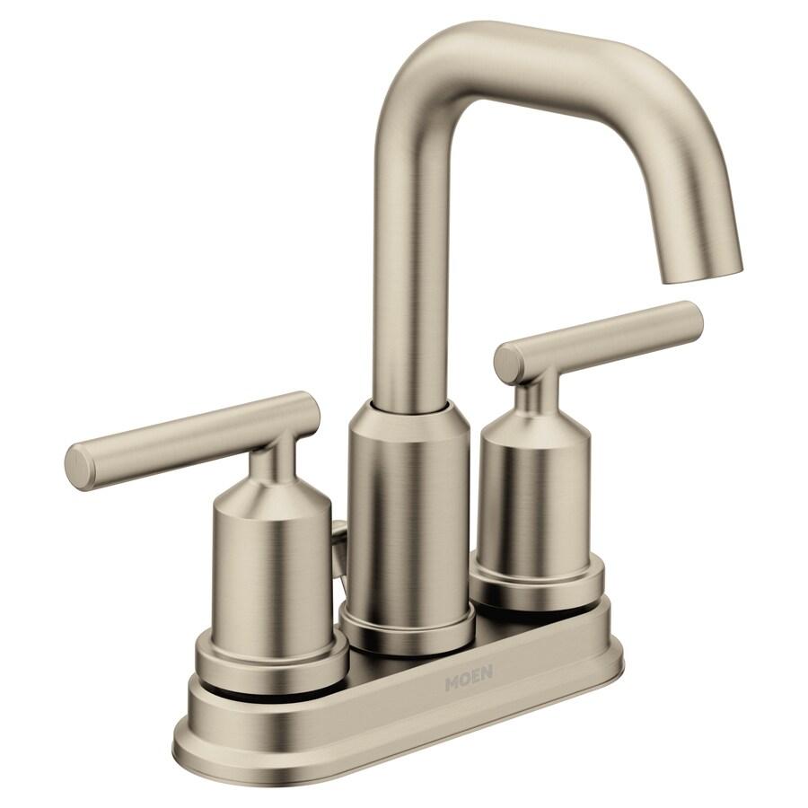 moen gibson brushed nickel 2 handle 4 in centerset watersense bathroom sink faucet with drain