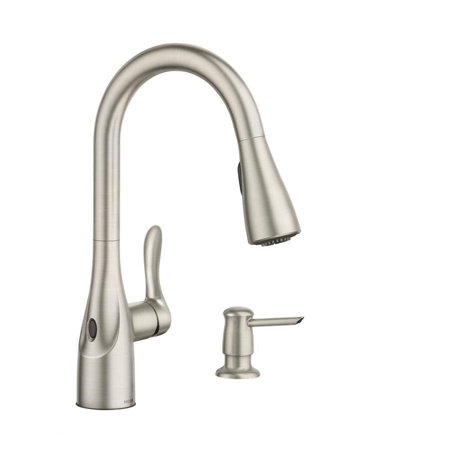 moen arlo spot resist stainless 1 handle deck mount pull down handle kitchen faucet deck plate included