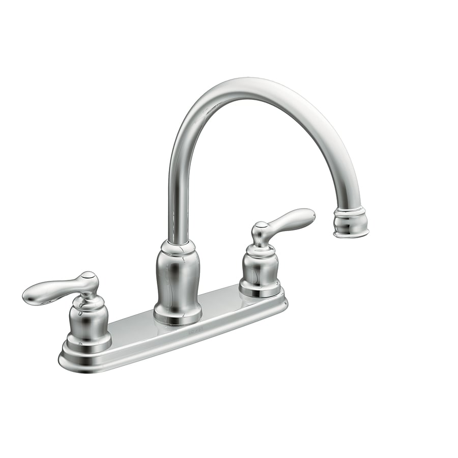 moen caldwell chrome 2 handle deck mount high arc handle kitchen faucet deck plate included