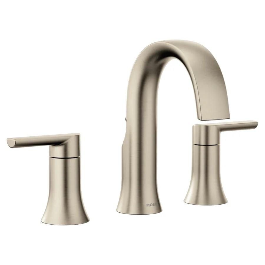 moen doux brushed nickel 2 handle widespread watersense bathroom sink faucet with drain