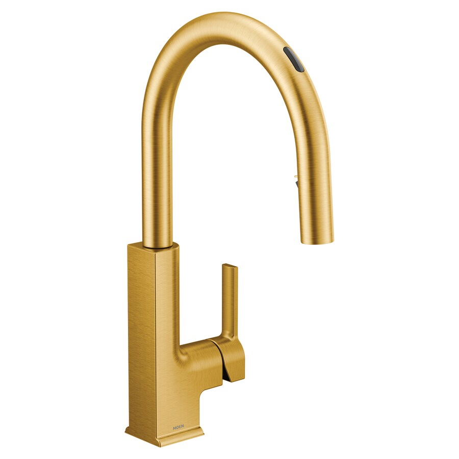 moen sto brushed gold 1 handle deck mount pull down touchless kitchen faucet deck plate included