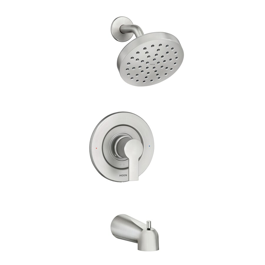 moen rinza spot resist brushed nickel 1 handle bathtub and shower faucet with valve
