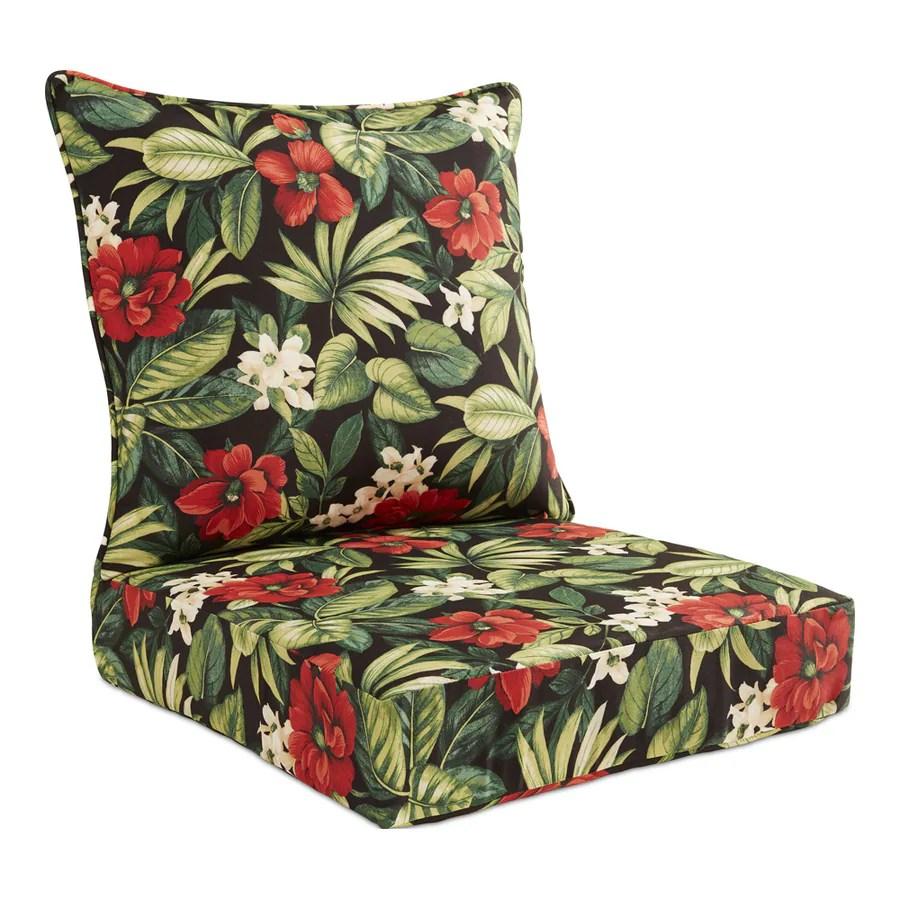 garden treasures 2 piece sanibel black tropical deep seat patio chair cushion lowes com