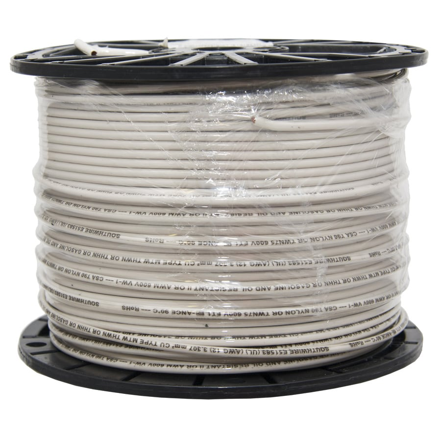 Shop 12 Awg Copper Stranded White Xhhw Wire By The Roll