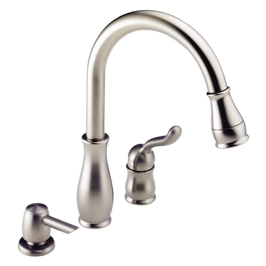 delta stainless steel kitchen faucet with pull down spray