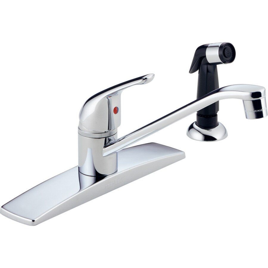 peerless chrome low arc kitchen faucet with side spray