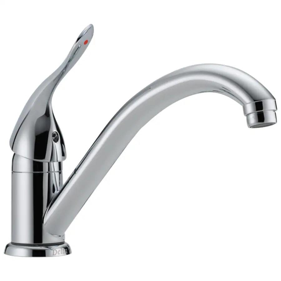 delta commercial chrome 1 handle deck mount low arc handle kitchen faucet deck plate included