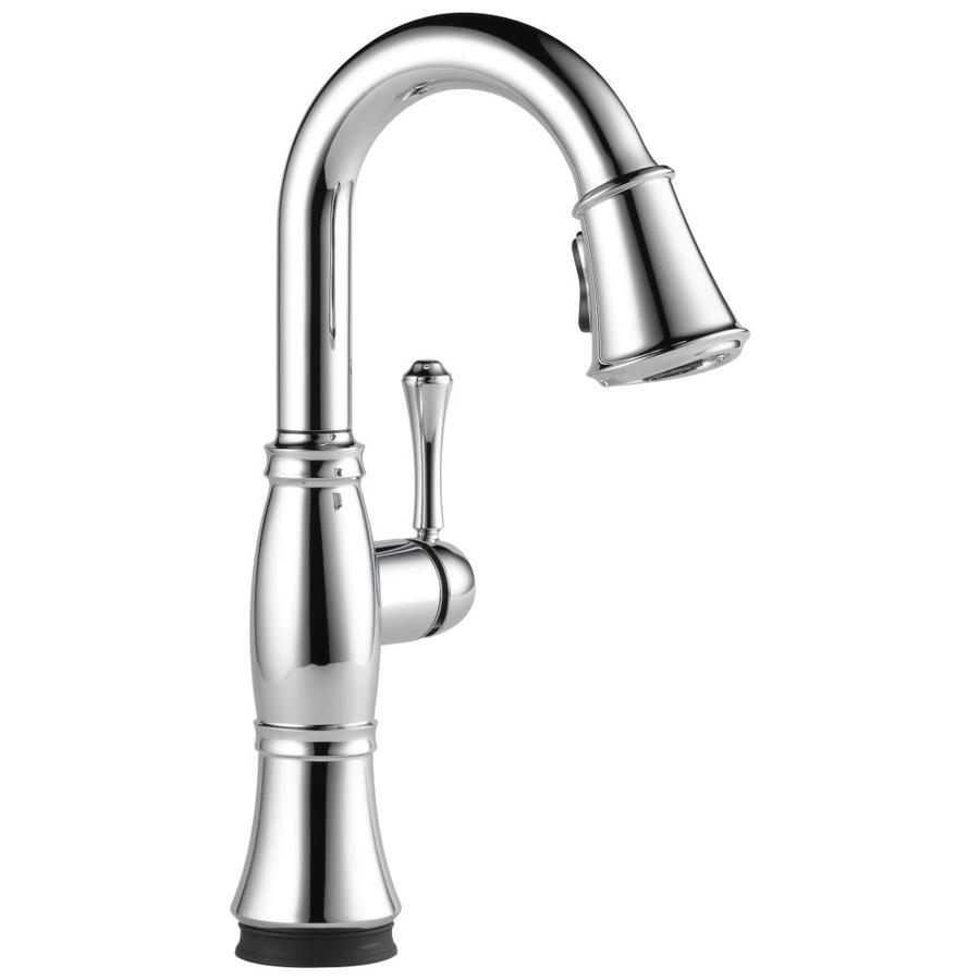 delta cassidy touch chrome 1 handle deck mount pull down touch residential kitchen faucet