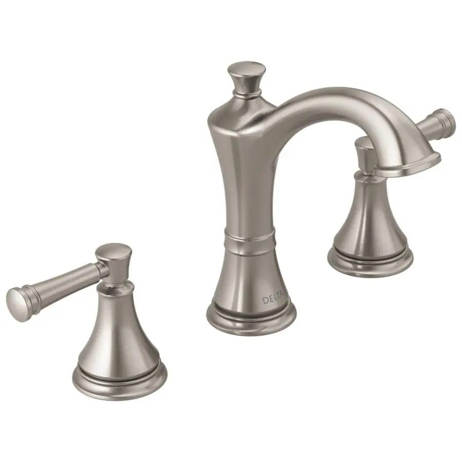delta valdosta spotshield brushed nickel 2 handle widespread watersense bathroom sink faucet with drain