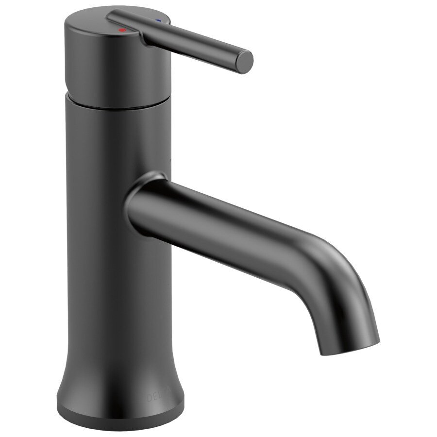 delta trinsic matte black 1 handle single hole 4 in centerset watersense bathroom sink faucet with drain and deck plate