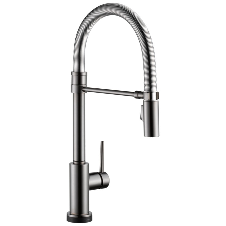 delta trinsic pro touch2o black stainless 1 handle deck mount pull down touch kitchen faucet