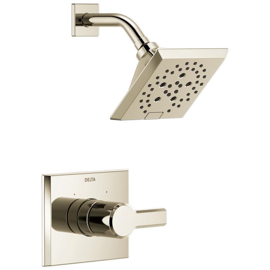 delta pivotal polished nickel 1 handle shower faucet