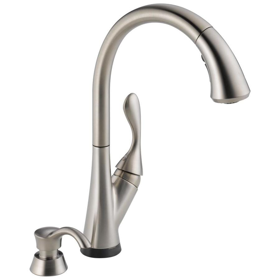 delta ashton touch2o stainless 1 handle deck mount pull down handle kitchen faucet deck plate included